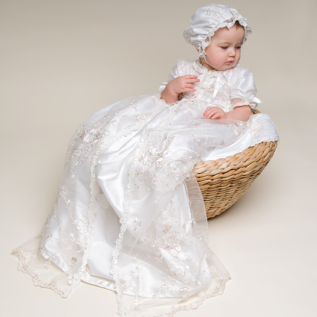 4a9fac639 Scarlett Lace Christening Gown & Bonnet - Girls Christening Gown