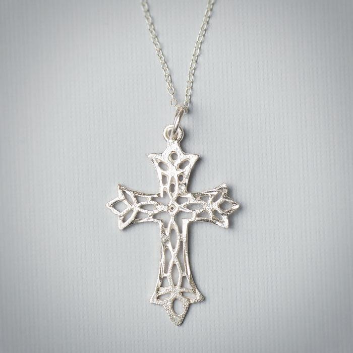 Sterling Silver Lace Cross Necklace