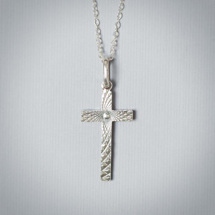 Sterling Silver Sun Burst Cross Necklace - Christening Jewelry