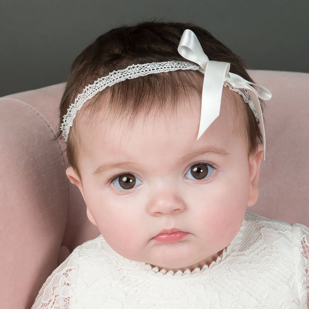 Victoria Christening Bow Headband - Girls Headband