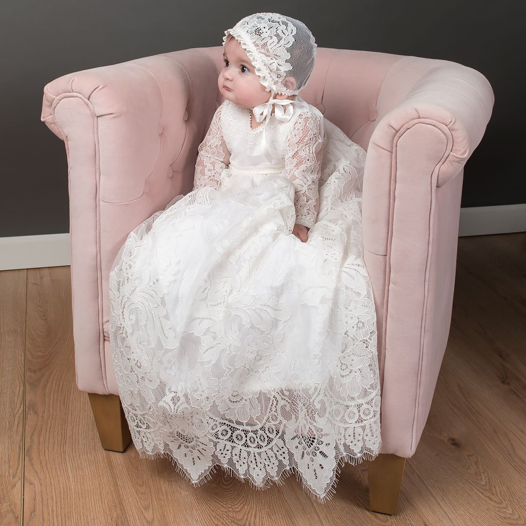 Victoria Heirloom Christening Gown - Vintage Girls lace Baptism gown ...