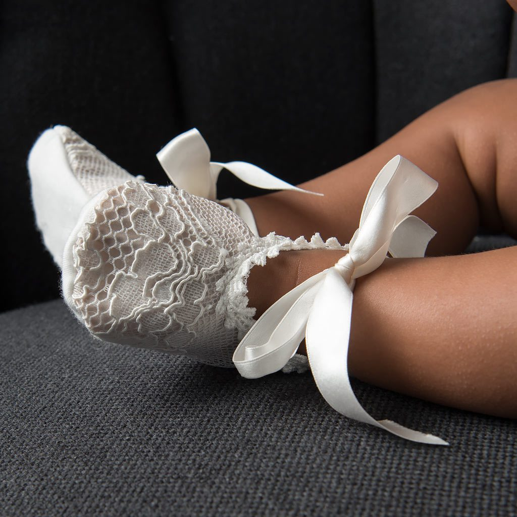 Victoria Lace Christening Booties - Girls Booties