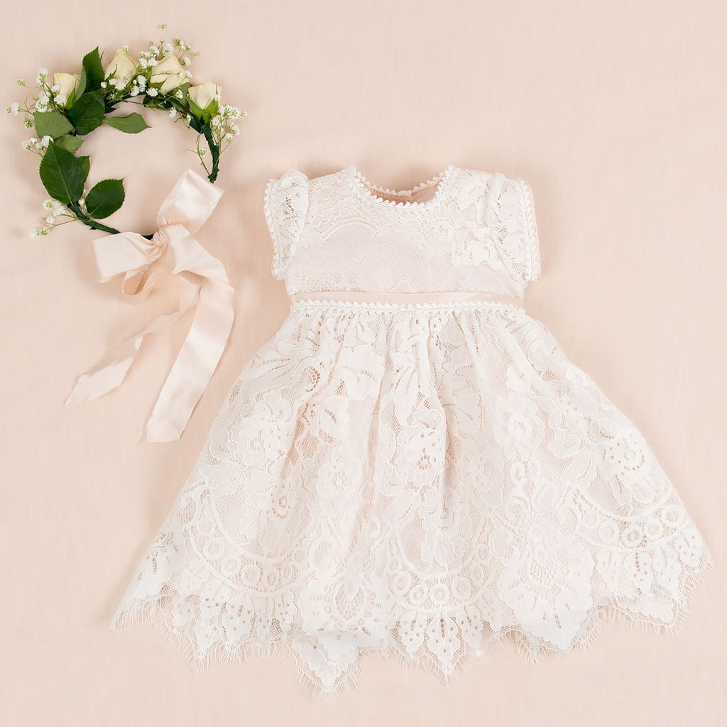 Victoria Puff Sleeve Christening Dress - Girls Christening Dress