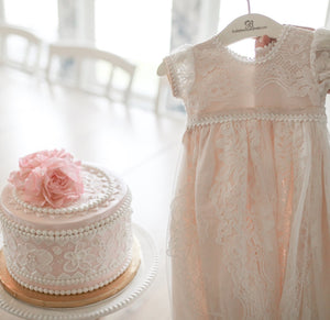 Victoria Puff Sleeve Christening Gown & Bonnet - Girls Christening Gown