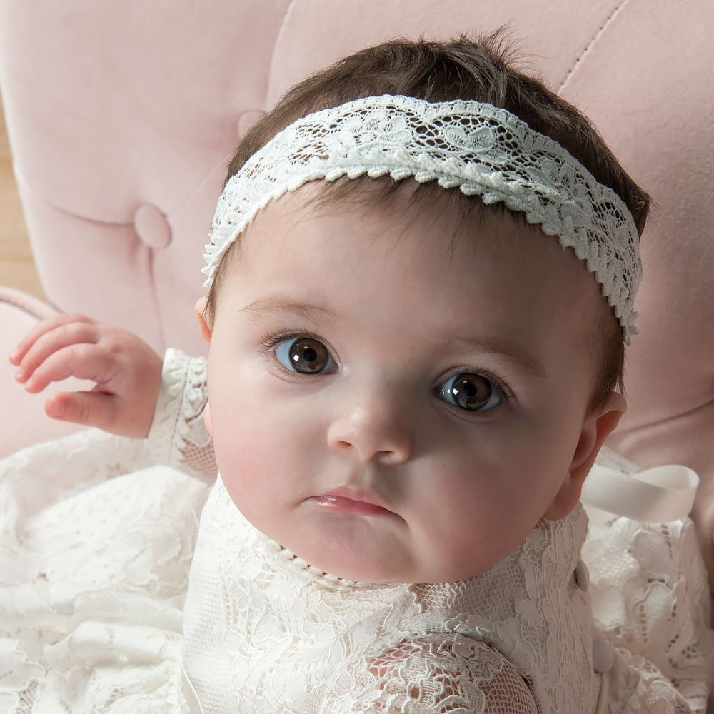 Victoria Wide Lace Christening headband - Girls Headband