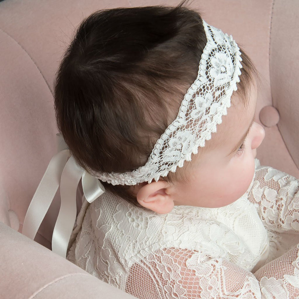 Victoria Wide Lace Christening headband