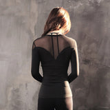 Karma Exposed Mesh Back Long Sleeve Top