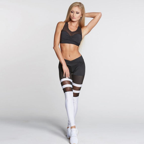 Electric Colorblock Black White Mesh Legging