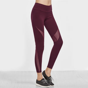 The Winter Collection Burgundy Mesh Design Legging