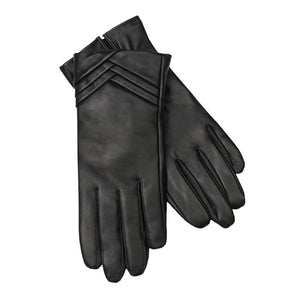 Jendi Leather Screen Touch Gloves - Black