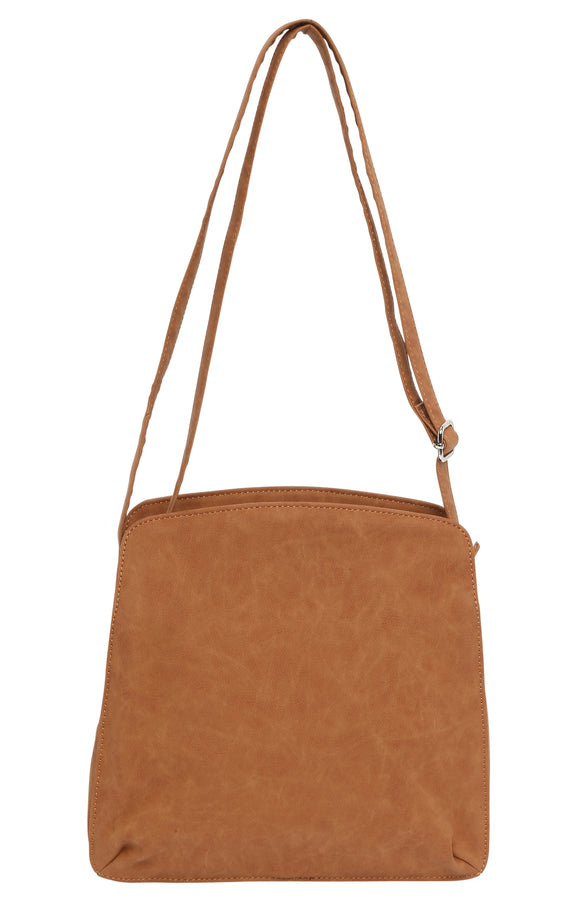 Cosgrove & Beasley Multi Compartment Shoulder Bag -Tan