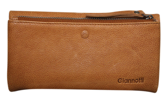 Gianotti leather tri fold wallet- Tan