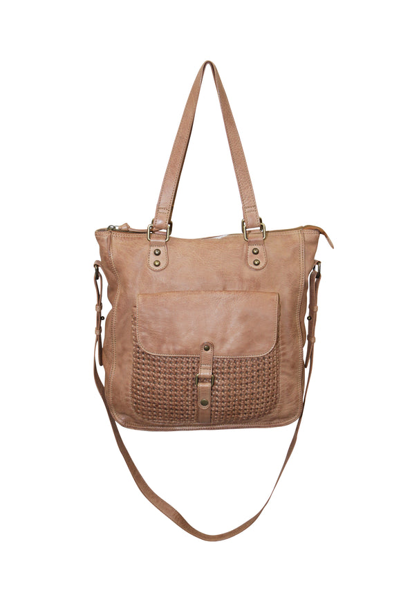 Gianotti weave leather tote - Cognac
