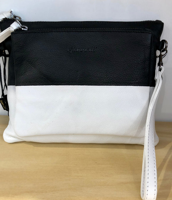 Gianotti leather clutch/bag - Black and white
