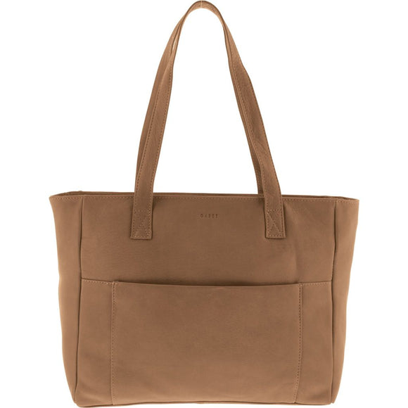 Gabee Auburn leather Work Tote - Taupe