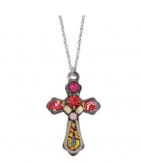 Ayala Bar Cross Necklace-Red