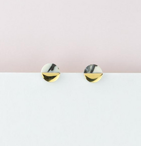 Erin Lightfoot Sculptural Pink Marble Studs