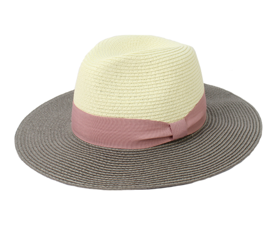 Jendi Wide Brim Fedora- Taupe and Cream
