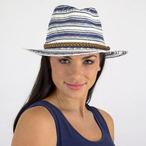 Jendi Fedora-Blue and White