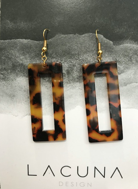 Lacuna Leopard Cellulose Earrings-Rectangle