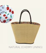 Le Panier Noosa Basket-Natural/Cherry Lining