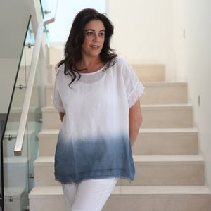 Cindy G linen tie dye top - White and Blue