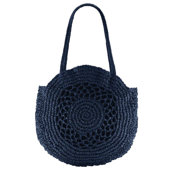 Gabee Henley woven circle tote- Navy