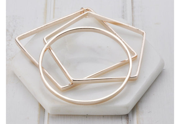 Lillyco Rose Gold three shape bangle