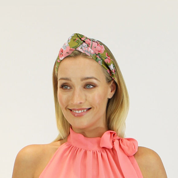 Jendi satin turban - Green floral