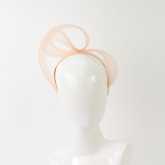 Jendi  high swirl fascinator- Nude