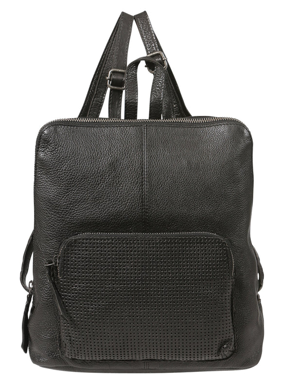 Modapelle Washed  Leather perforated Backpack - Black