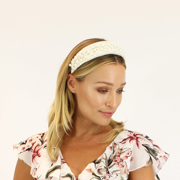 Jendi  satin headband - Cream with pearl beading