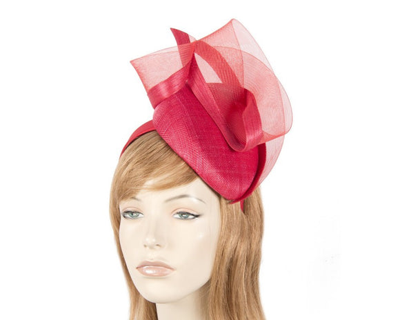 Fillies Collection pillbox and sheer fascinator - Red