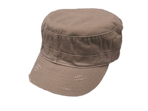 Avenel Washed Cotton Twill Army Cap-Khaki