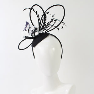 Jendi  ornate black and white fascinator - Black