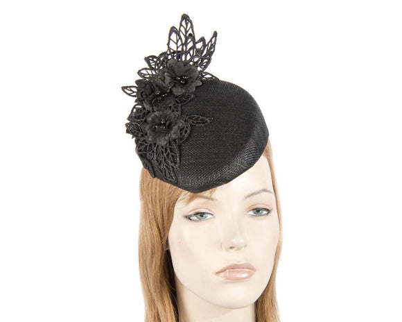 Fillies Collection Sculptured Pillbox Fascinator-Black
