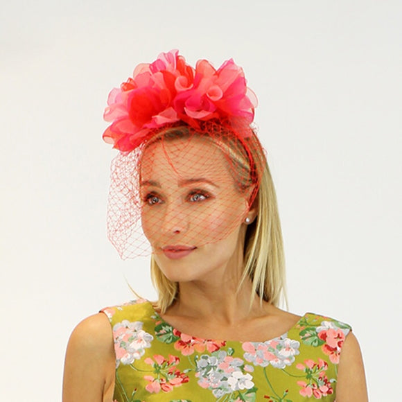 Jendi pale pink and soft red two tone fascinator- Red