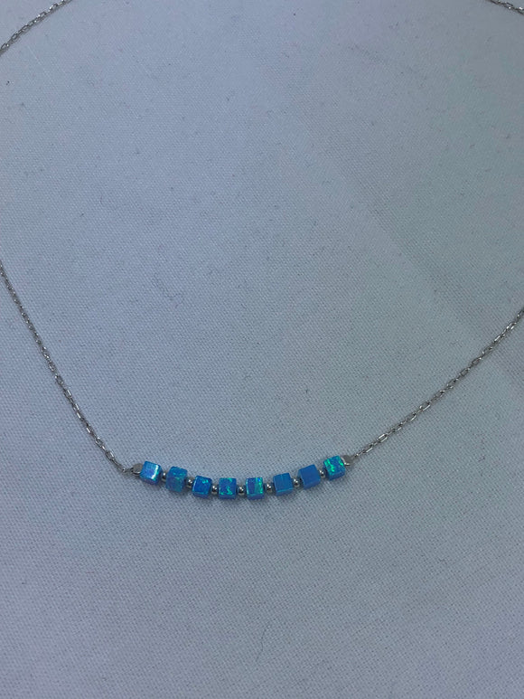 Smadar design silver and opal necklace