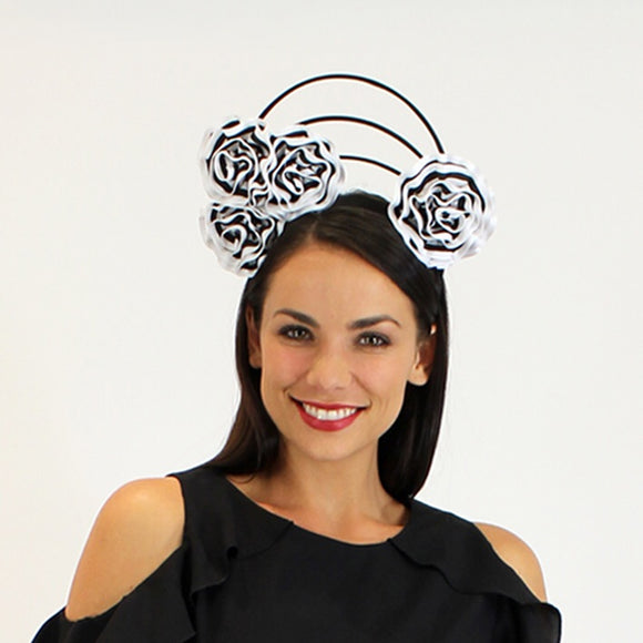 Jendi  rose swirl fascinator - Black and white