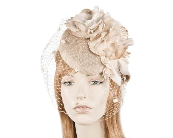 Fillies Collection flower pillbox with veil fascinator - Nude