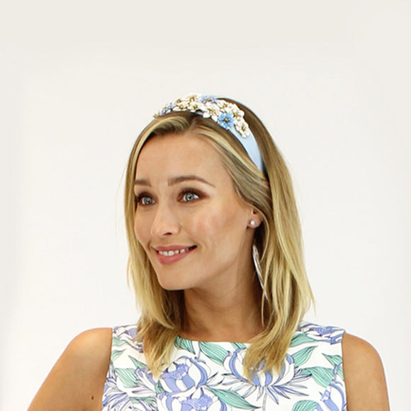 Jendi satin headband - Pale blue with floral beads