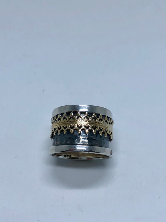 Smadar design wide silver ring with gold design