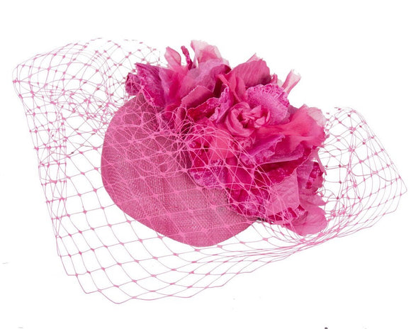 Fillies Collection flower Pillbox with Veil Fascinator-Fuchsia