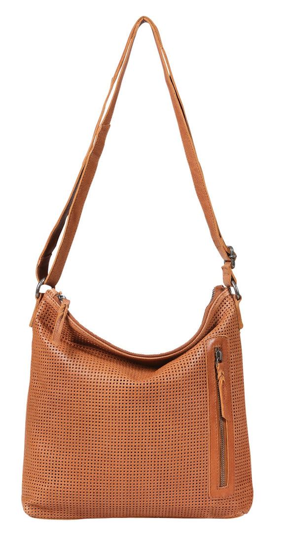 Modapelle Provincial perforated leather tote- Tan