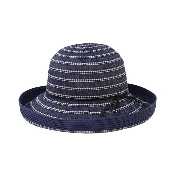 Jendi  upturned brim Navy and check.