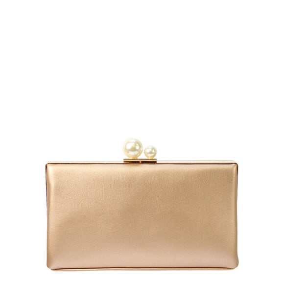 Jendi clutch with pearl clasp - Rose Gold
