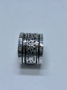 Smadar design intricate silver wide band ring