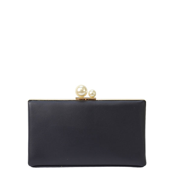 Jendi clutch with pearl clasp - Navy