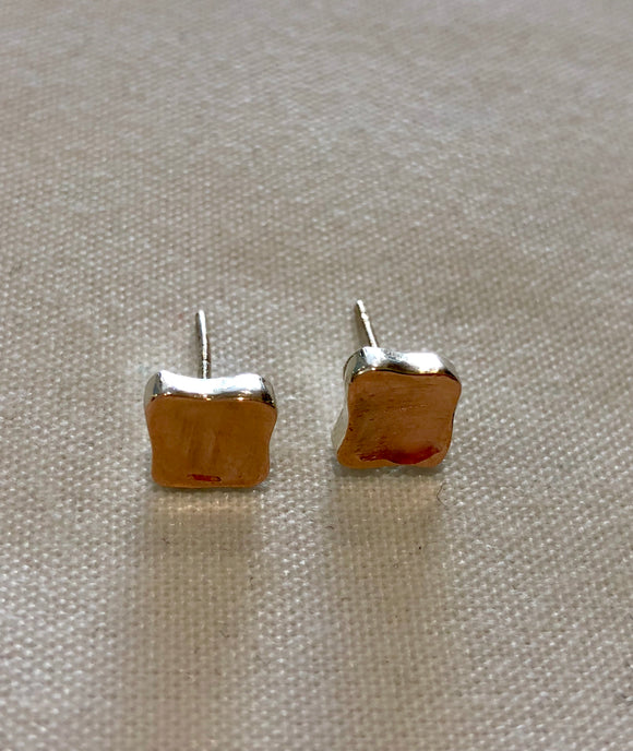 Smadar design silver and rose gold earrings