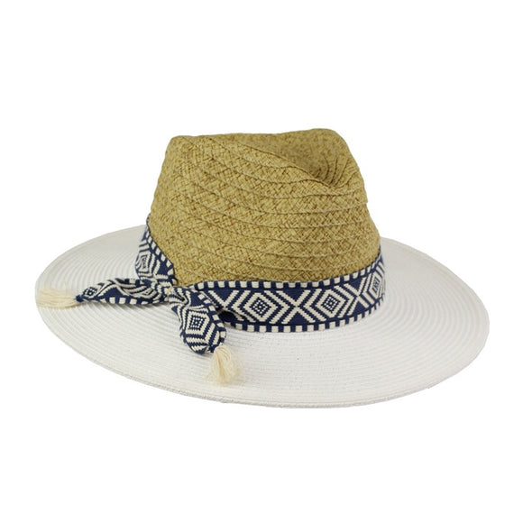 Jendi Wide Brim Fedora- Natural and White with blue braid